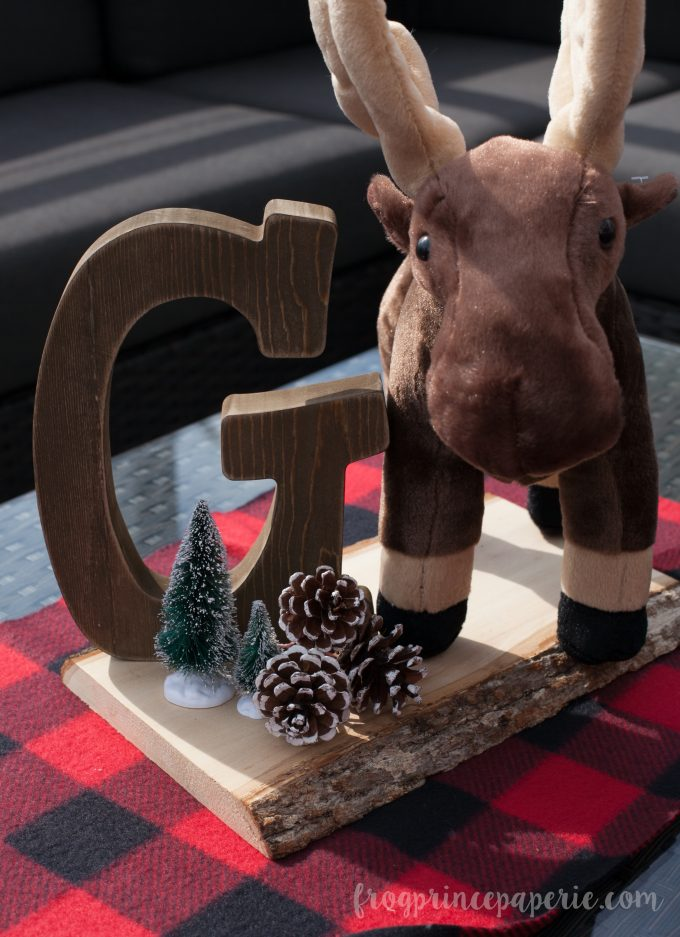 Little lumberjack first birthday party moose centerpiece