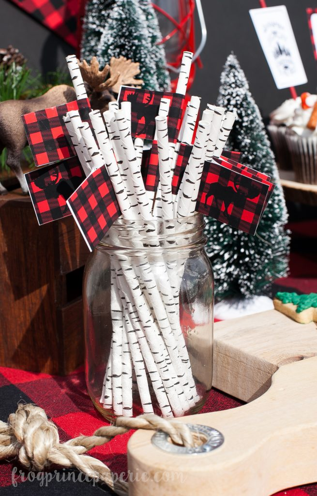 Little lumberjack first birthday party straws