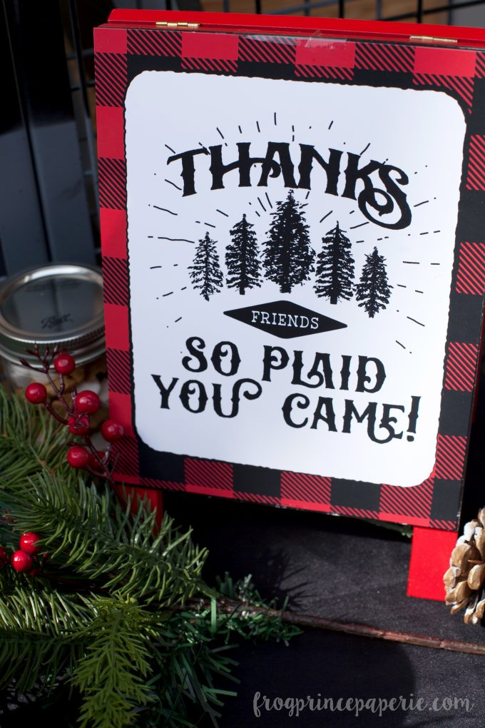 Little lumberjack first birthday party printable thank you sign