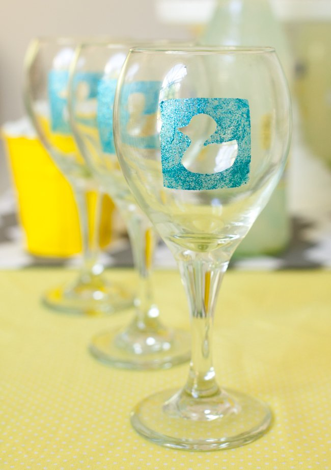 Duck Baby Shower Diy Personalized Wine Glasses Frog Prince Paperie