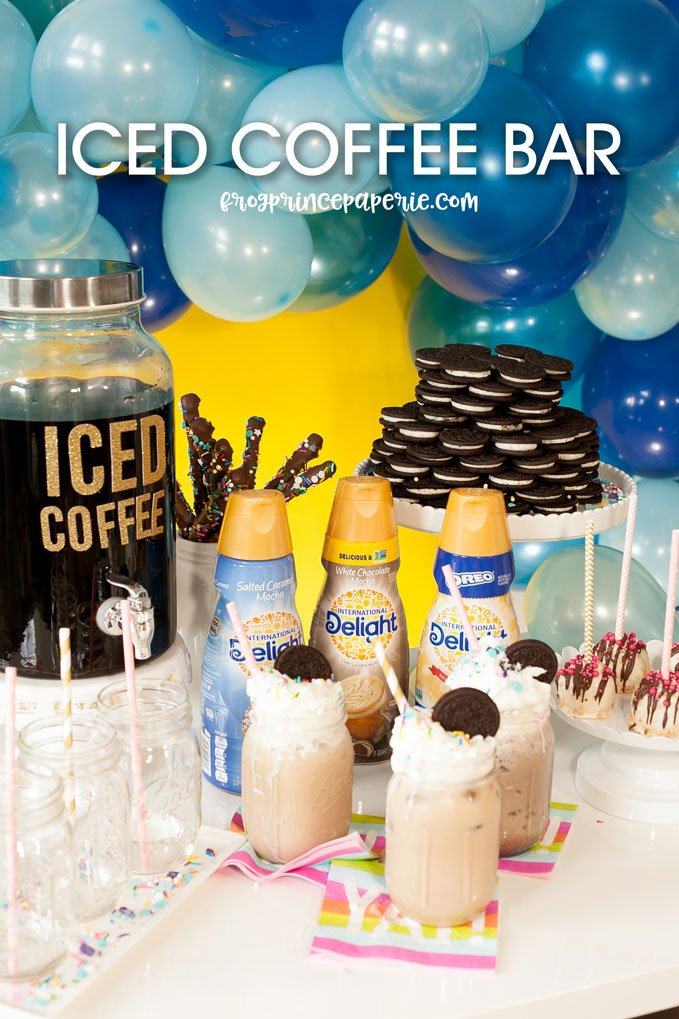 Iced coffee bar ideas for your next party--like frappes and OREO flavored drinks!
