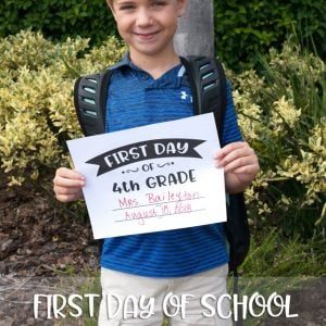 Free printable first day of school sign for mom in a hurry