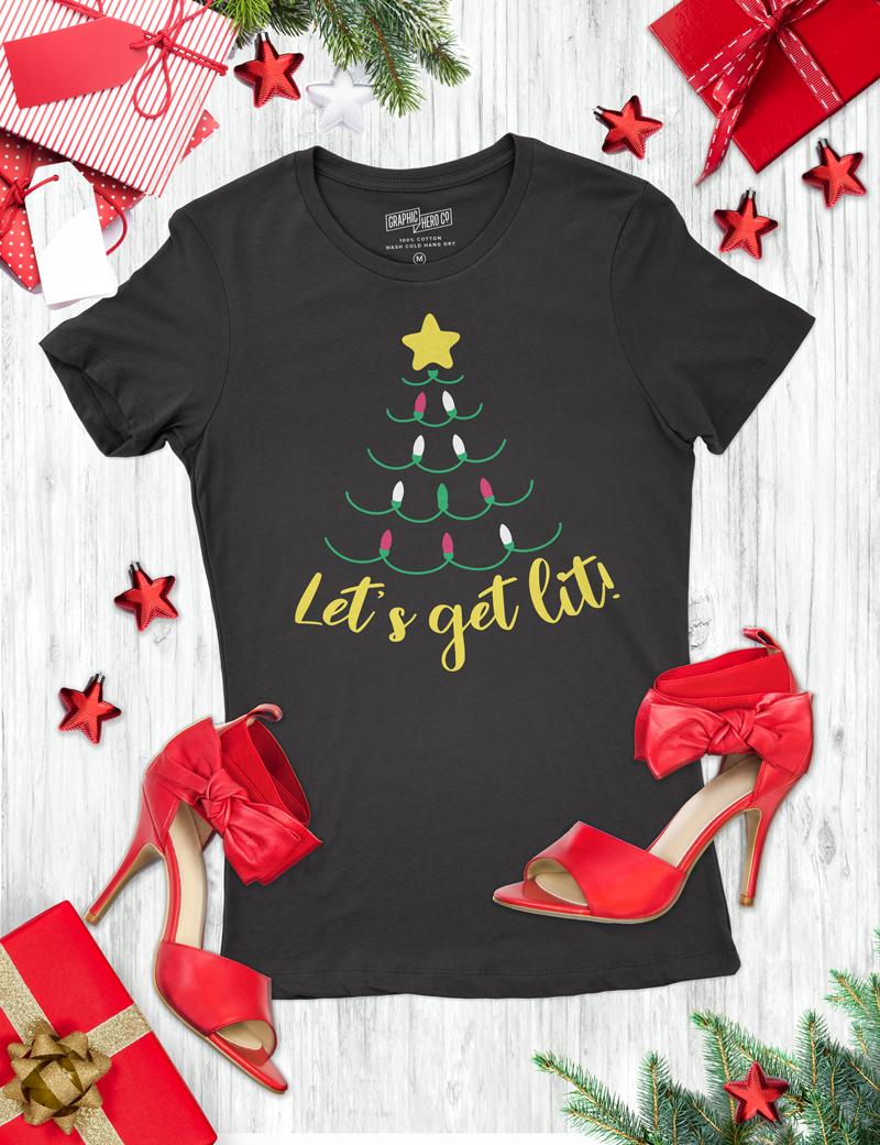 Let's Get Lit Holiday T-Shirt Designs
