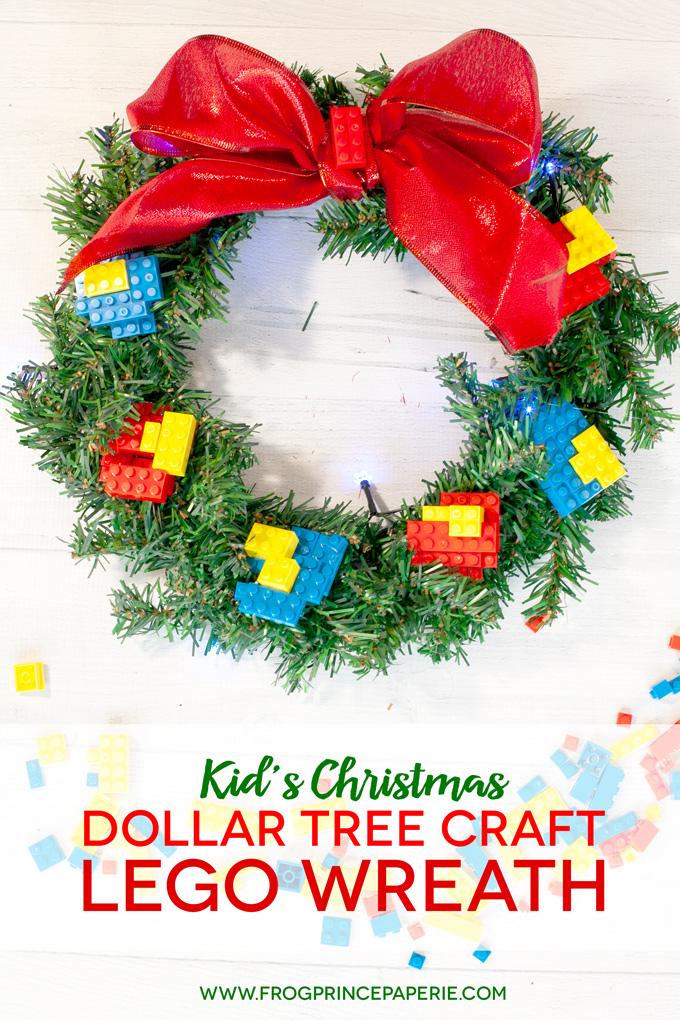 Dollar Tree Christmas Craft: Kid's Lego Wreath