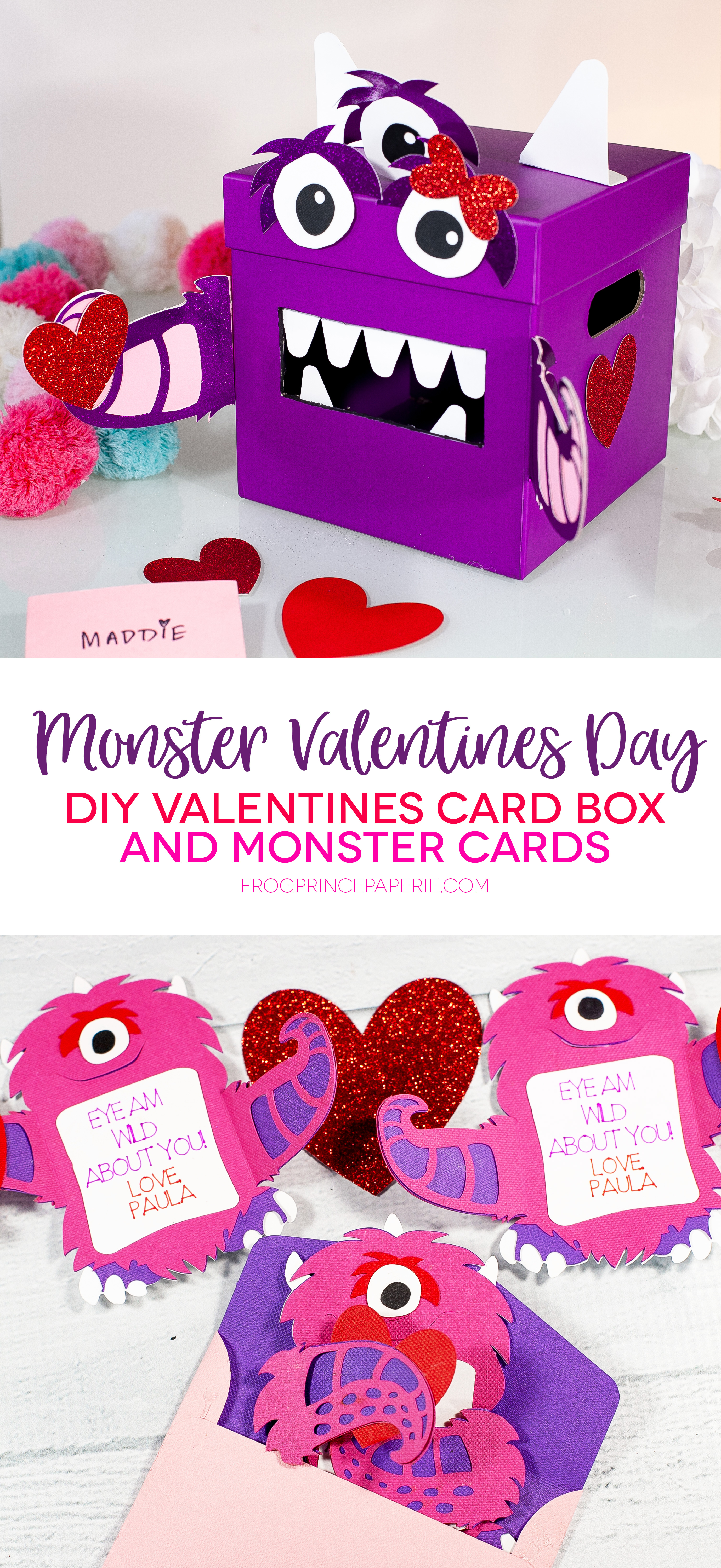 Monster Valentine Card Box and Monster Valentine Card with Cricut Maker