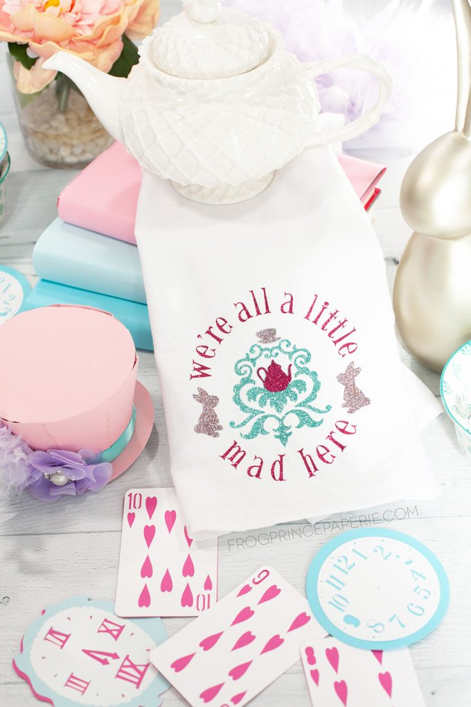 Mad Hatter Tea Towels with Cricut BrightPad