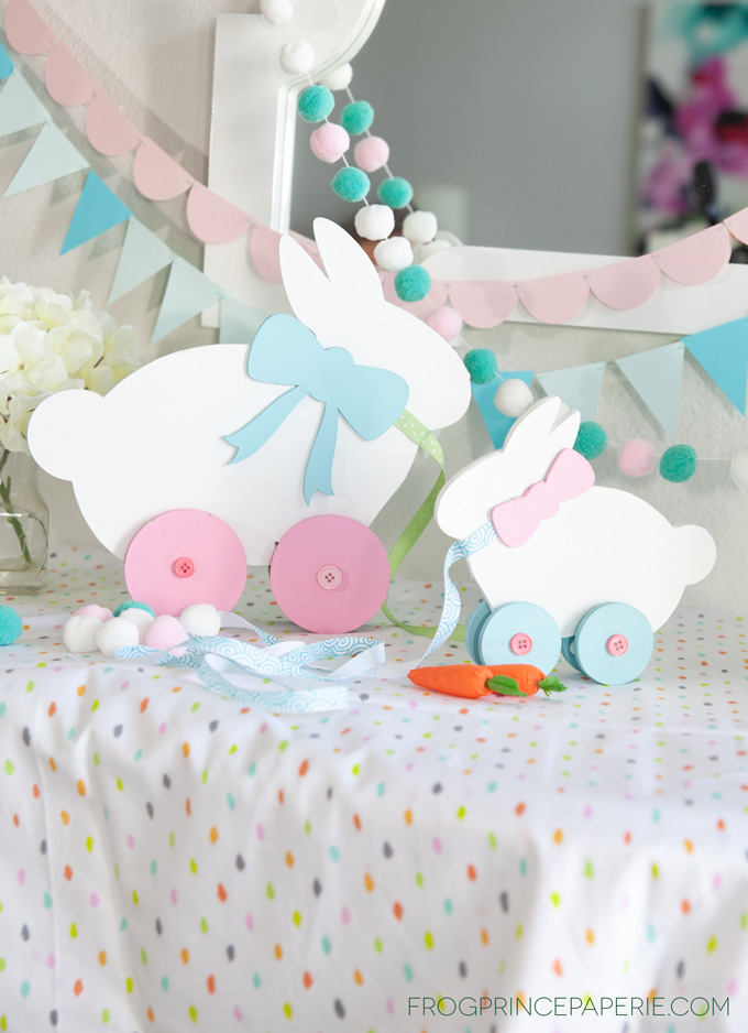 DIY Easter Decoration:  Bunny Pull Toy