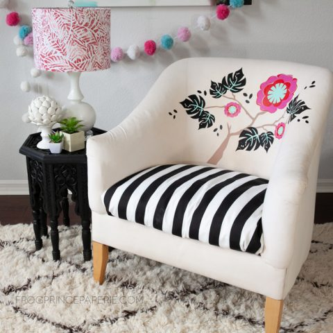 Floral Club Chair: Iron-on Vinyl on Upholstry
