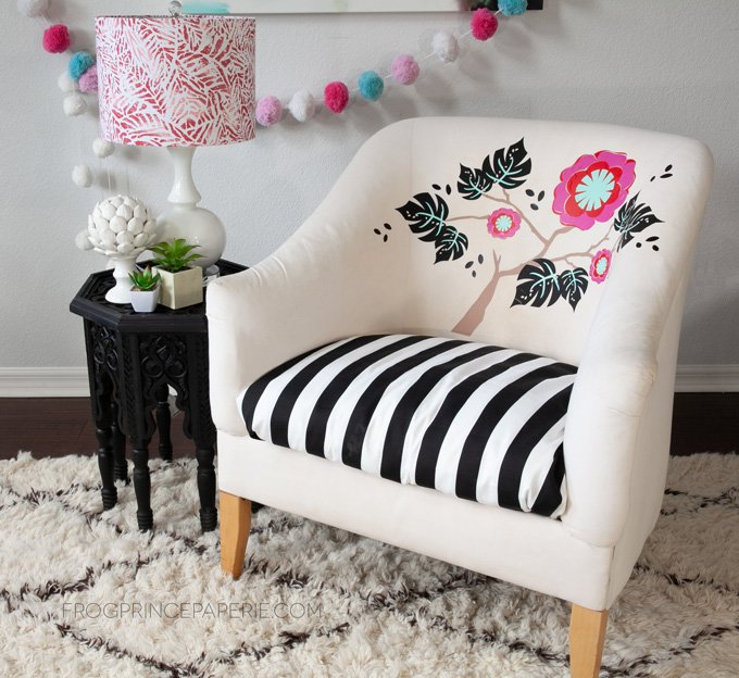 Use the Cricut EasyPress 2 and iron-on vinyl to create a custom chair, and learn how to iron vinyl onto upholstry.