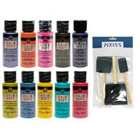 All 10 Colors FolkArt Color Shift Acrylic Paints 2-ounce Bottles, Pixiss 3 Pack Foam Brushes 1-inch, 2-inch, 3-inch