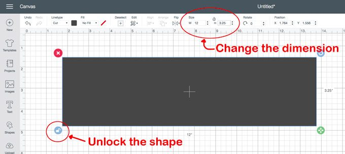How to change the size of shapes in Cricut design space.