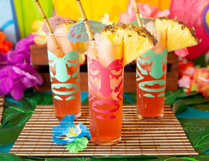 Set up a tiki bar with a few DIY Tiki glasses and DIY tiki drink buckets #luau #luauparty #tikibar #tiki