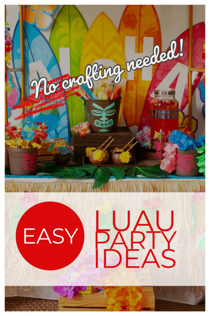 Easy luau party ideas for an easy tiki bar. No crafting necessary!