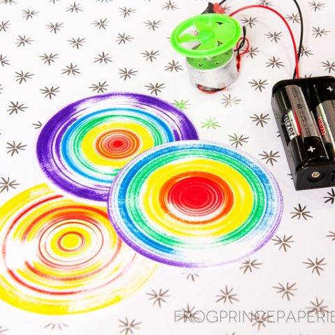 Create a DIY Spinner from a hobby motor to create Spinner art with kids!