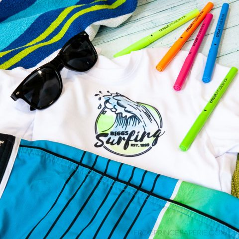 Watercolor Surf Logo T-shirt with Cricut Infusible Ink Pens and Markers