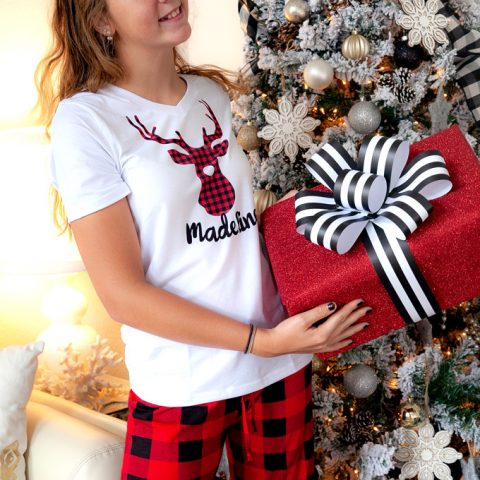 Personalized Reindeer Christmas Pajamas with Cricut Infusible Ink