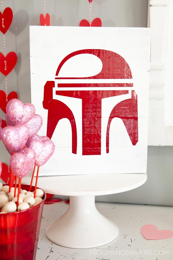 Baby Yoda Valentines party DIY Mandalorian art