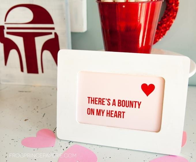 Baby Yoda Valentines party bounty hunter sign