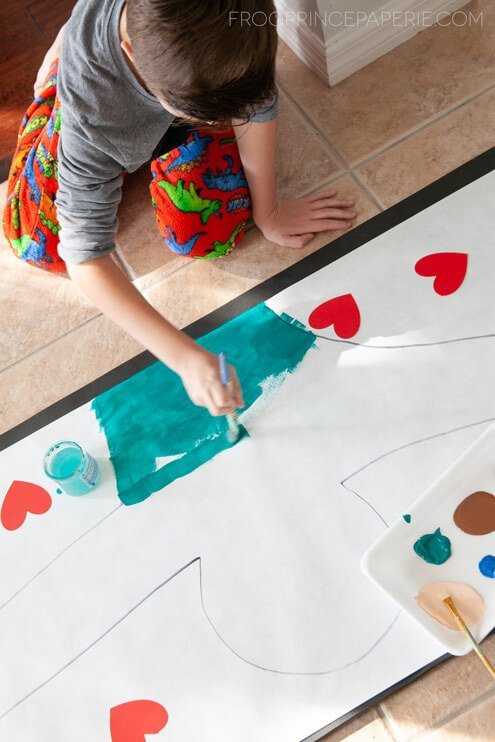 Great kid art project at home--painting hugs!
