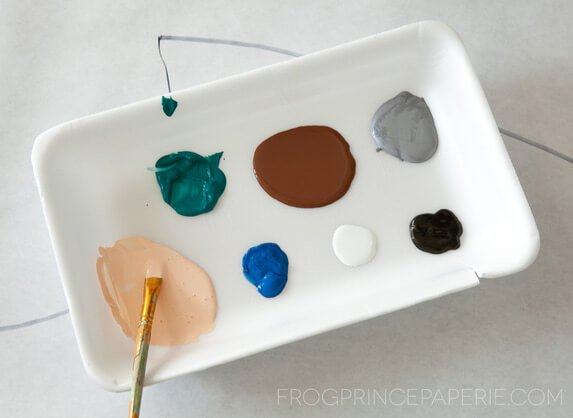 Kid art project at home - use recycled foam trays for paint!