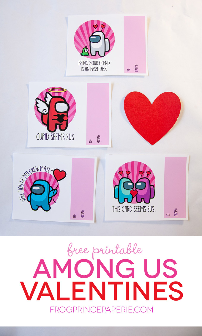 Among Us Valentines free printables for kids
