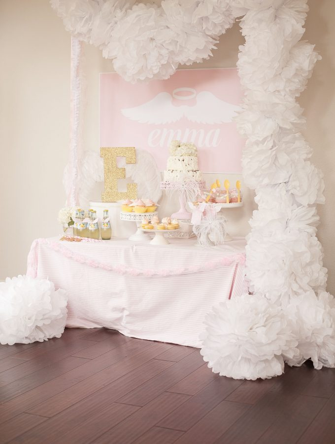 Angel first birthday party dessert table