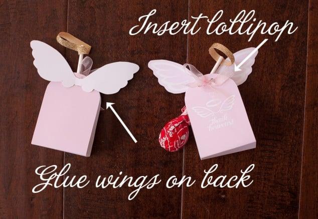 Angel lollipop party favor wings
