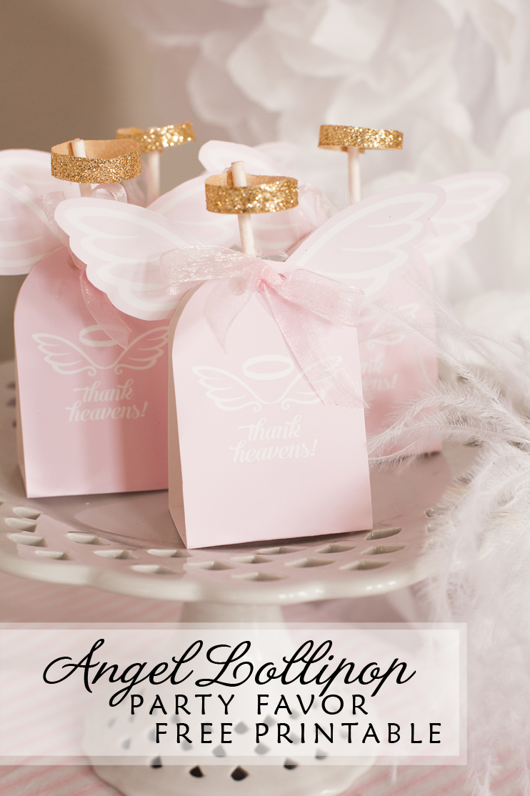 Angel lollipop party favors and #freeprintable
