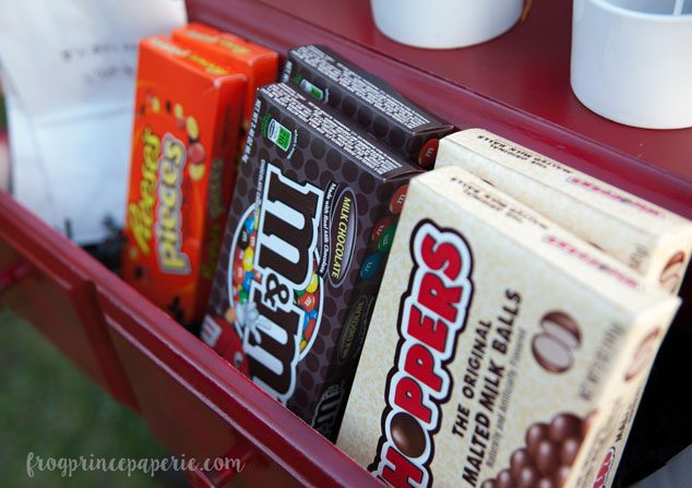 backyard movie party concession stand candy