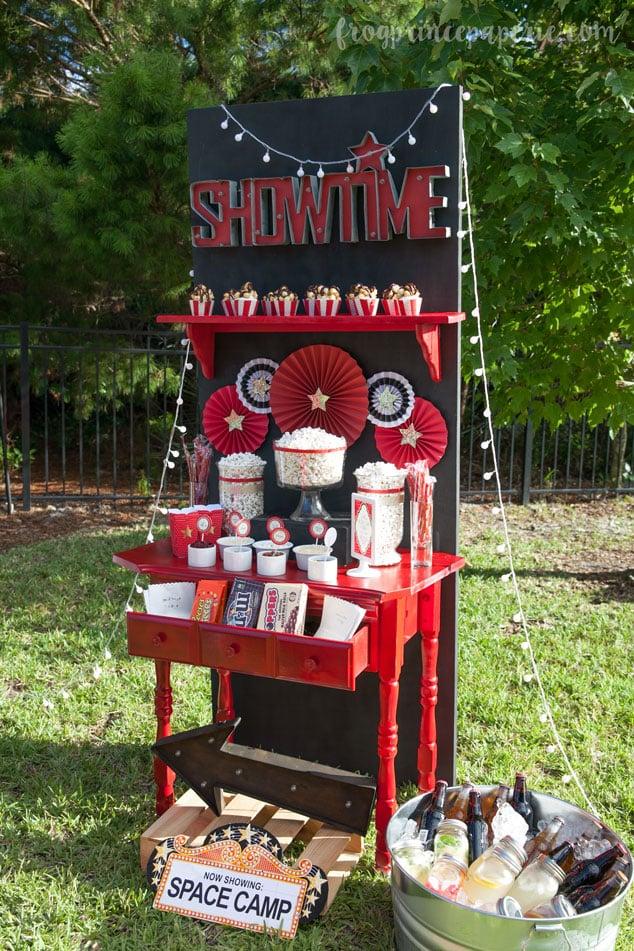 backyard movie party and popcorn bar ideas