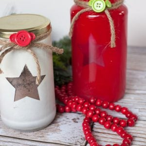 DIY Recycled Handmade Gift: Stenciled Jar of Dairy Free Hot Cocoa Mix