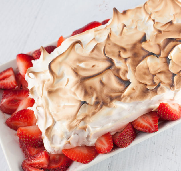 Dairy free dessert recipe for an ice cream cake style dessert made with layers of luscious pudding and meringue