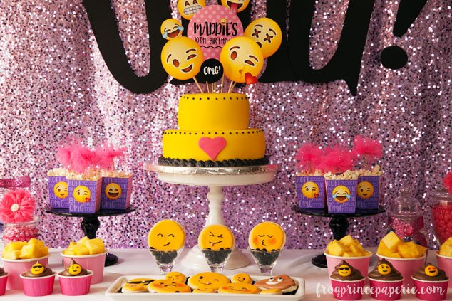 Glam Emoji Birthday Party Dessert Table Themed Food Is The Cutest