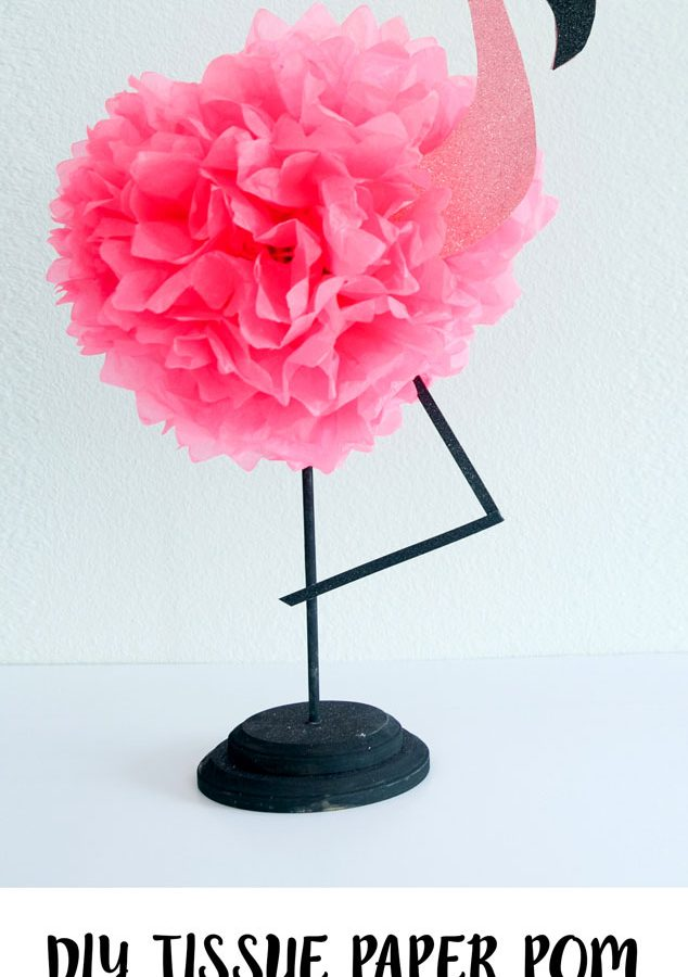 Learn how to make a tissue paper flamingo for DIY flamingo party decor.