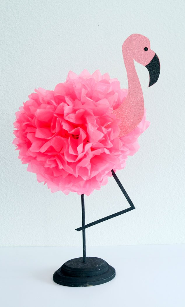 Learn how to make a tissue paper flamingo for your next flamingo party or luau!