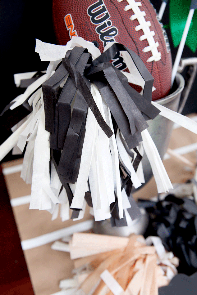 How to make a tissue paper pompom for a football centerpiece