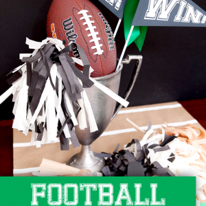 Football Craft: Tissue Paper Pom Poms and Football Centerpiece