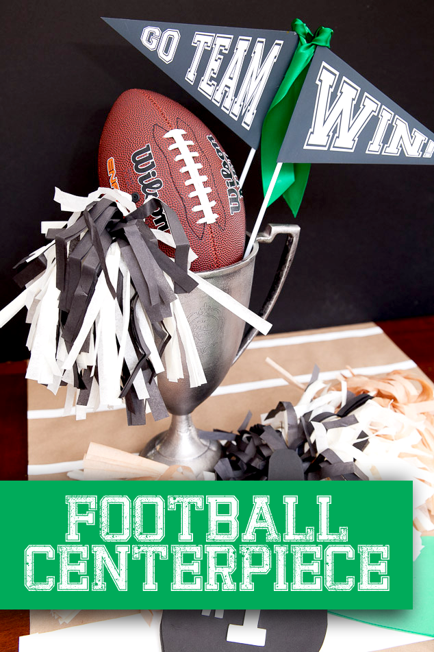 Football Craft: Tissue Paper Pom Poms and Football Centerpiece