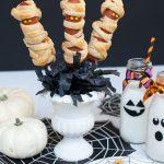 Halloween Dinner: Mummy Hotdogs on a Stick with Mini-Mummies