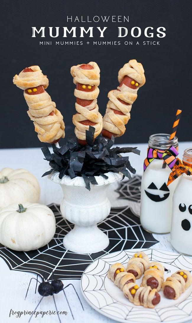 Halloween Dinner idea - Mini Mummy Dogs and Mummy Dogs on a Stick!