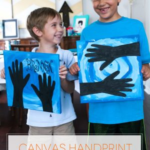 Kid craft project for rainy days! Canvas hand painting and easy clean-up craft project