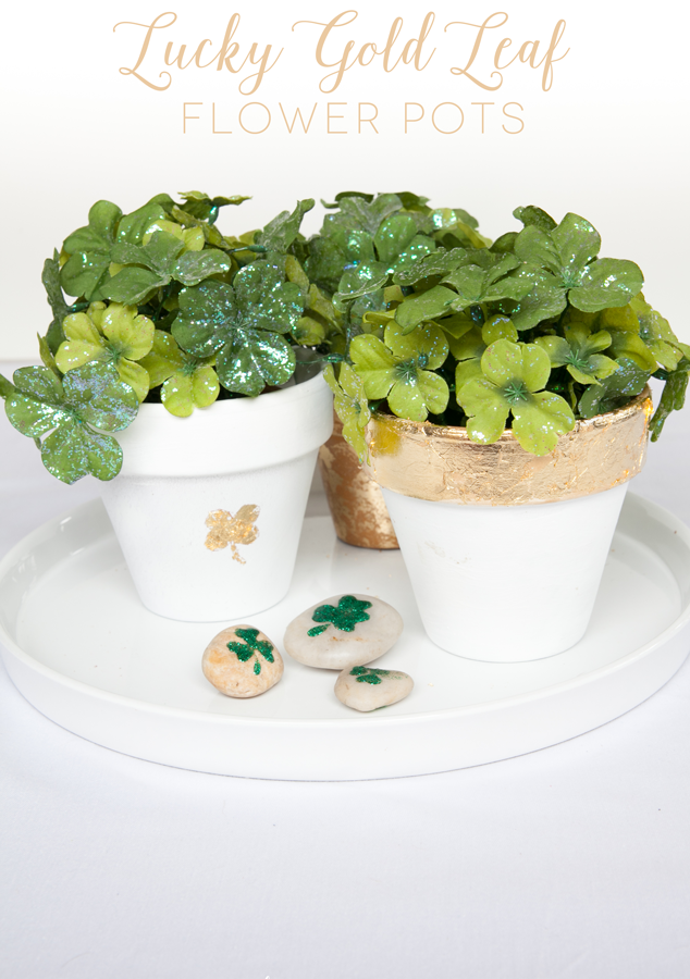 Tutorial on how to gold leaf flower pots for festive St. Patrick's Day decor