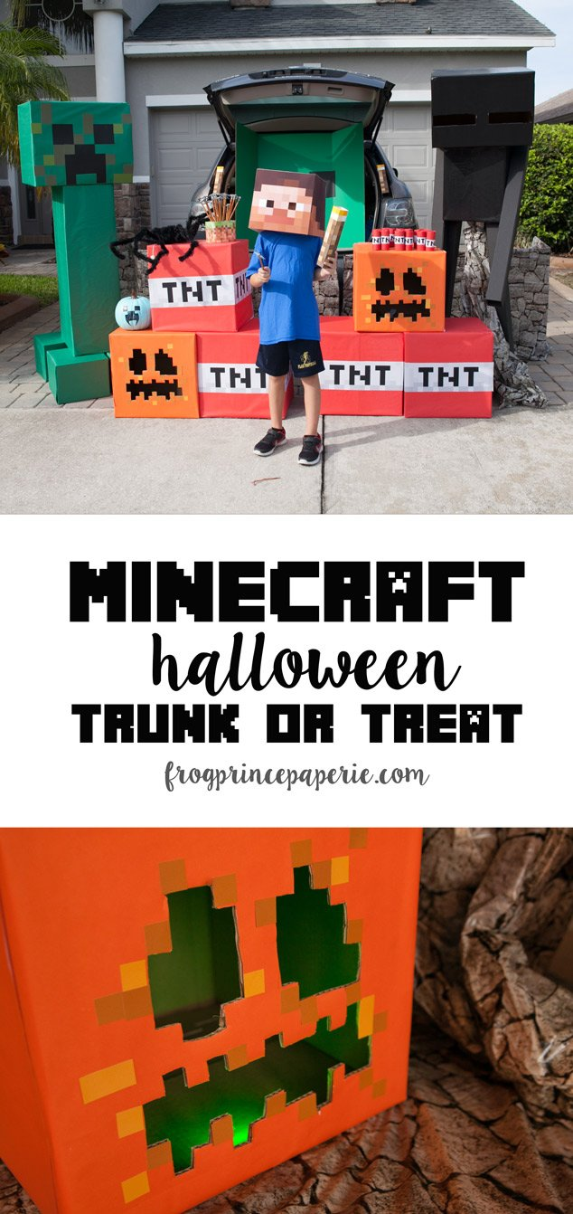 Trunk or treat ideas for your Minecraft fans! With life size creepers and enderman, giant boxes of TNT and square pumpkins that glow, your trunk can be the best at the party!