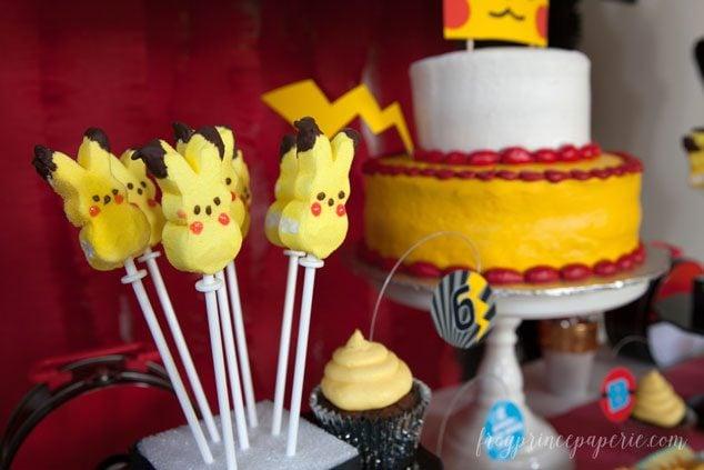 Pokemon party food ideas - Pikachu pops and a Pikachu cake