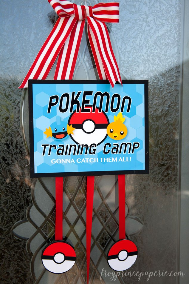 Pokemon party idea - make a door sign for your Pokemon party to welcome your Pokemon trainer guests inside