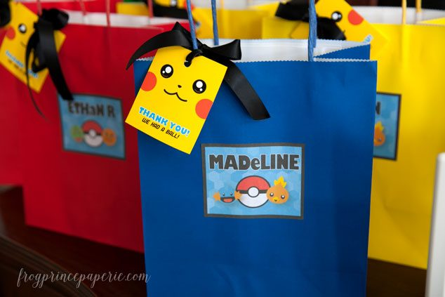 Pokemon party favor bags for a Pokemon birthday party