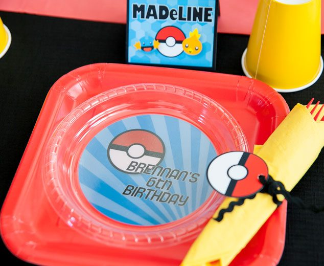 At your Pokemon birthday party, you can customize table settings for each Pokemon trainer