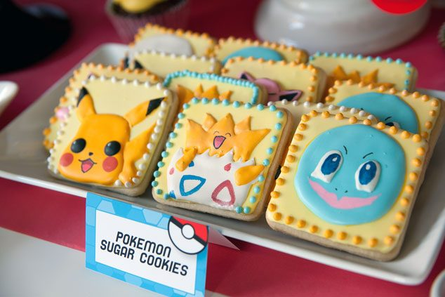 Pokemon party food ideas - character sugar cookies by Tikkido