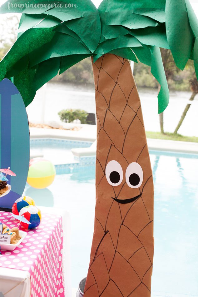 Happy DIY palm trees dance at this left shark pool party!