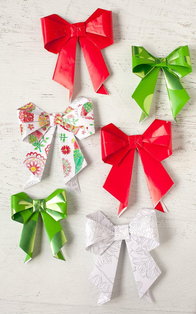 Turn adult coloring pages into origami paper bows for holiday gift giving!